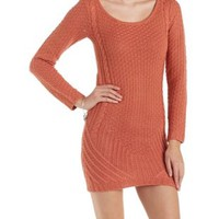 Red Mixed Knit Sweater Dress by Charlotte Russe