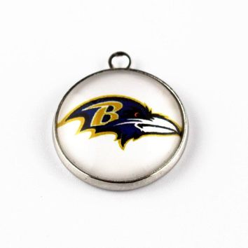 New arrival 10pcs/lot football Team Sports Glass Pendant Baltimore ravens Hanging Dangle Charms For bracelet Jewelry