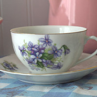 1950s Mid Century Floral Bone China Teacup and Saucer