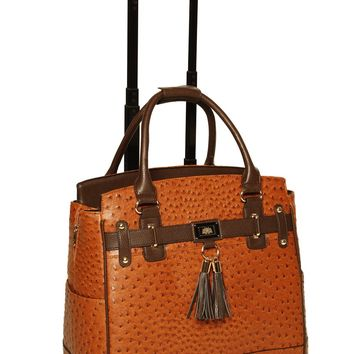 """THE UPTOWN"" Ostrich Rolling iPad, Tablet or Laptop Tote Carryall Bag"