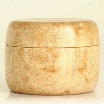 Wooden Pill Box Trinket Box Handcrafted in Birdseye Maple with Magnetic Lid