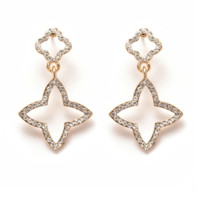 Peermont Gold And White Swarovski Elements Star Drop Earrings | Bluefly.Com
