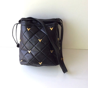 Vintage Valentino V Quilted Bucket Bag