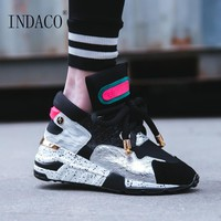 Platform Sneakers Women Leather Designer Shoes Women Luxury 2018 6cm Summer Spring