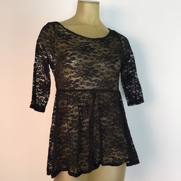 Black Lace Babydoll Top Empire Waist See Through Lace Tunic Cropped Sleeve Baby Doll Blouse Scoop Neck Stretch 90s Cute Flirty Top M