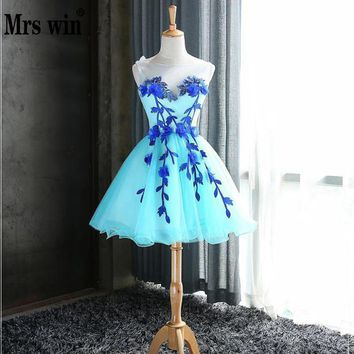 2017 New Arrival Mrs Win Sleeveless Prom Dresses O-neck Knee-length Ball Gown Candy Color Dress For Graduation