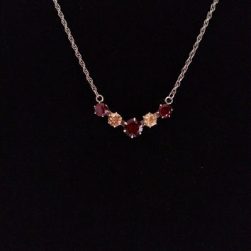 Sterling Silver faux Garnet and Citrine Pendant Necklace