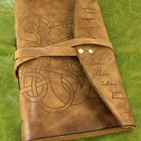Viking stylistic animal with runes leather bound journal in Italian antiqued leather