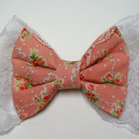 Pink Lace Floral Hair Bow - Lace Hair Bows for Teens and Adults