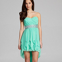 Sequin Hearts Strapless Beaded Hi-Low Dress | Dillards.com