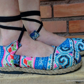 Espadrille With Ankle Wrap Hmong Embroidery & Batik, Flat Womens Shoe 6