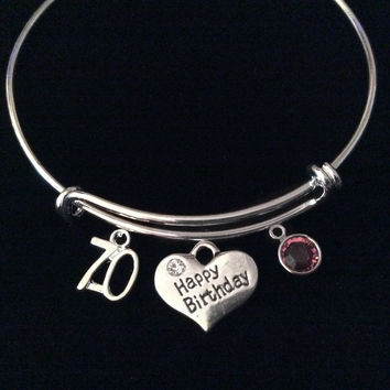 Happy 70th Birthday Expandable Silver Charm Bracelet Adjustable Bangle 70 year Gift