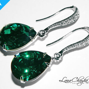 Wedding Bridemaids Earrings Gifts Swarovski Emerald Green Pear Rhinestone Rhodium Sterling Silver Cubic Zirconia Dangle FREE US Shipping