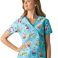 Buy Disney Women Mock Wrap Seven Dwarfs Print Scrub Top for $15.95