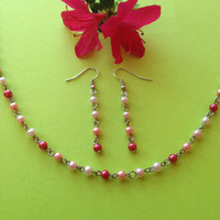 Set of Pink Chained Beaded Necklace and Earrings