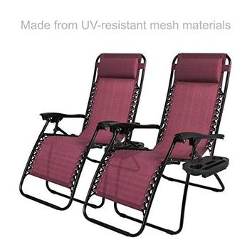 New Modern Zero Gravity Chair Outdoor Patio Adjustable Recliner Comfortable Padded Headrests and Armrest w/Cup Holder - Set of 2 Burgundy #1904