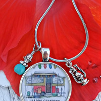 Happy Campers Charm Necklace, Camping NeCklAce, Stainless Steel, Glamping, Trailer NecklaCe