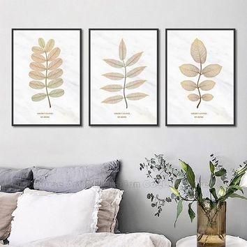 Nordic Poster Wall Art Canvas Paintings On The Wall Pictures For Living Room Gold Leaf Plant Quadro Decorativo Home Decor