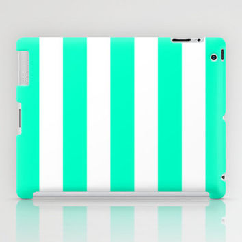 Mint White Stripes iPad Case by M Studio - iPad 2nd, 3rd, 4th Gen, and iPad Mini