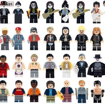 Single The Godfather Gangster Legoings Kiss Band Guitar Rock Kungfu Zombie Film Super Heroes Building Blocks Toys For Children