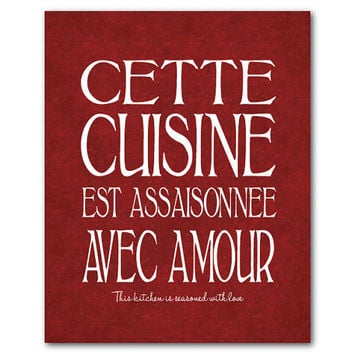 Kitchen Wall Art - cette cuisine est assaisonnée avec amour - this kitchen is seasoned with love - Weding gift Housewarming gift
