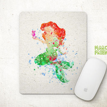 The Little Mermaid Mouse Pad, Disney Ariel Watercolor Art, Mousepad, Home Art, Gifts Idea, Art Print, Desk Decor, Disney Accessories