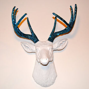 SPARKLE White Deer Head with Teal Turquoise Glitter Antlers - Faux Taxidermy D0134