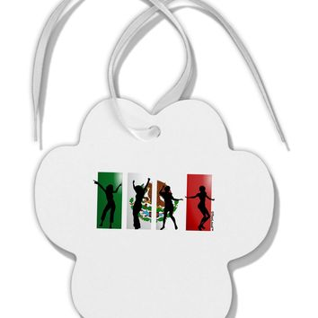 Mexican Flag - Dancing Silhouettes Paw Print Shaped Ornament by TooLoud