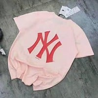 NY Classic Fashion Couple Casual Embroidery Short Sleeve Cotton T-Shirt Top Pink
