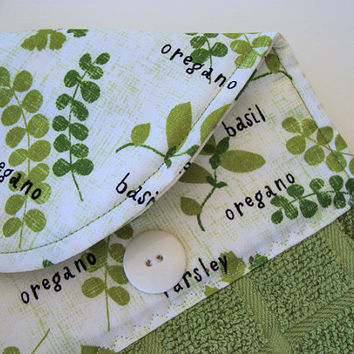 Button-Top Dish Towel - Quilted Hanging Kitchen Towel - Herb Garden Towel - Custom Towels - Decorative Towel - Green Dish Towel