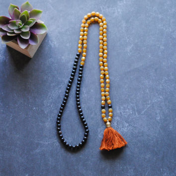 One of a Kind Hand Knotted Bohemian Tassel Necklace // Faceted Czech Glass // Black Ebony Wood // Rustic Tassel Necklace by Indigo Lunch