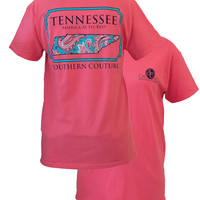 Southern Couture Tennessee Preppy Paisley State Pattern Girlie Bright T Shirt
