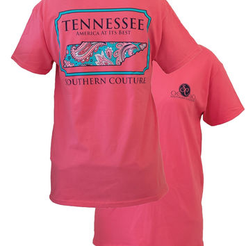 SALE Southern Couture Tennessee Preppy Paisley State Pattern Girlie Bright T Shirt