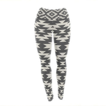 "Amanda Lane ""Navajo Black Cream"" Tribal Geometric Yoga Leggings"
