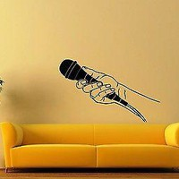 Wall Stickers Vinyl Decal Microphone Music Media Journalist Interview Unique Gift ig1574