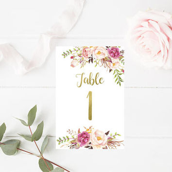 Boho Floral Wedding Printable Table Numbers 1-20 -  Boho Wedding Table Numbers - Table Signs - Floral Wedding Decor - 4x6 - Party Printables