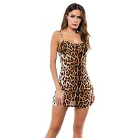 summer dress 's Sleeveless Sexy Sling Leopard Mini Dress Party Backless Dresses Vestidos sexy dress