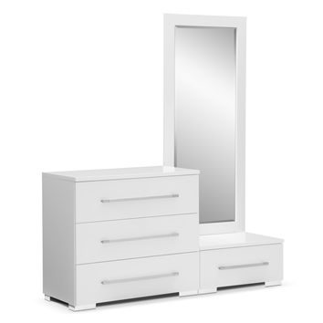 Dimora White Bedroom Dressing Dresser & Mirror with Step - Value City Furniture