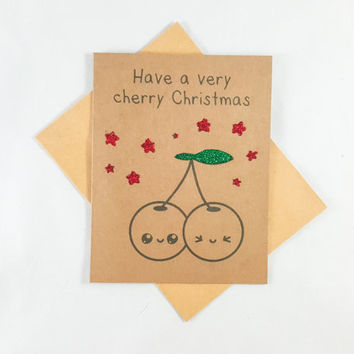 Cherry Christmas, Christmas Card, Funny Card, Funny Greeting Card, Greeting Cards, Pun Card, Cute Card, kawaii, xmas, holiday, glitter