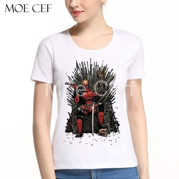 Newest Cool Deadpool on the Iron Throne T-Shirt Game of Thrones Movies T Shirt Women Summer Short Sleeve Funny Tops Tee L9-N-13