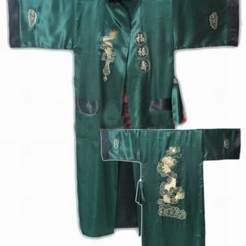 Red Black Chinese Men's Reversible Silk Satin Embroidery Robe Kimono Bath Gown Dragon One Size Free Shipping R-005