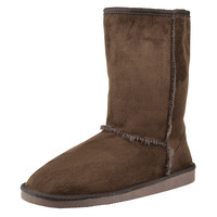 Womens Mid Calf Boots Fur Lined Pull On Winter Casual Pull on Shoes Brown SZ