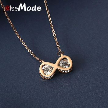 ELSEMODE  Infinity LOVE Heart Big CZ Stone Necklace 316L Stainless Steel Rose Gold Wedding Necklaces Jewelry For Women Joyas