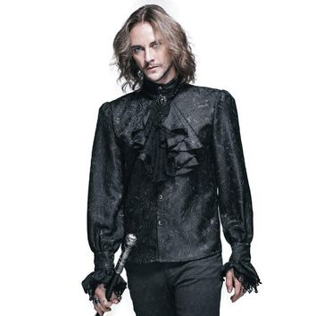 Steampunk Autumn Winter Men Long Sleeve Casual Shirts Black White Punk Gothic Shining Men's Tie Shirt Single Breasted Clothes
