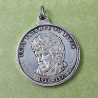 Vintage Elvis Presley 99.9 Silver Coin Pendant Commemorative Fans Tribute To Elvis King of Rock n Roll 1935-1977 Poem By Thomas E Thorpe