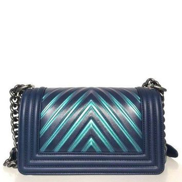 Chanel Painted Chevron Iridescent Boy Bag Size - Small - Beauty Ticks