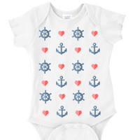 Anchor Heart Nautical Baby One Piece