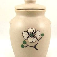 Pigeon Forge Pottery small dogwood bean pot honey jar yellow interior