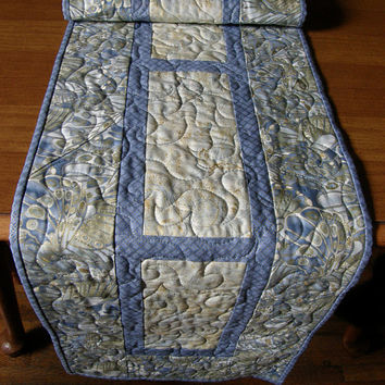 Periwinkle Blue Green Gold Embossed Quilted Table Runner