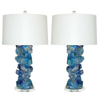 Pair of Rock Candy Lamps in Cobalt Crystal